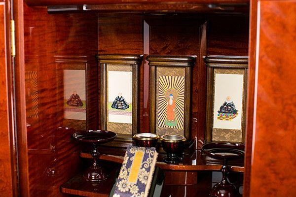 家具調仏壇 カーリーメイプル台付14号AT